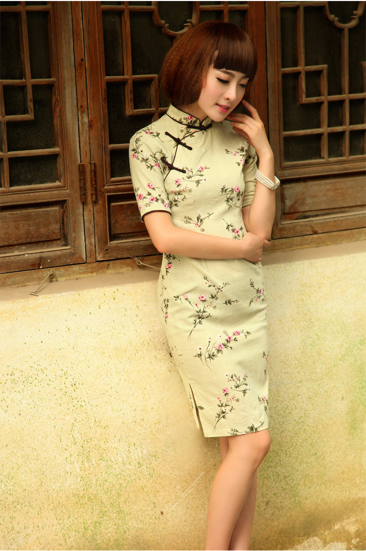 Birds of the land on which the Shadow 2015 summer new stylish retro short cotton the cheongsam QD 521 light green XXL pictures, price, brand platters! Elections are good character, the national distribution, so why buy now enjoy more preferential! Health