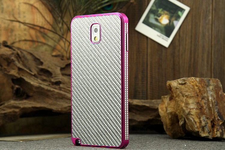 iMatch Luxury Aluminum Metal Bumper Carbon Fiber Back Cover Case for Samsung Galaxy Note 3 N9000