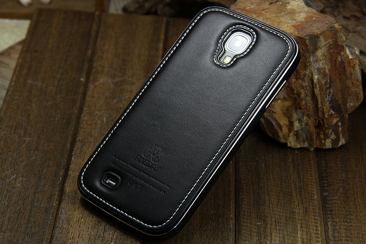 iMatch Luxury Aluminum Metal Bumper Premium Genuine Leather Back Cover Case for Samsung Galaxy S4 i9500