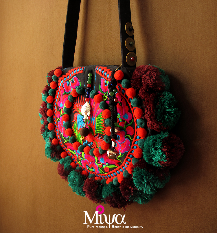 Embroidered Round Shoulder Handbag Miya Bags For