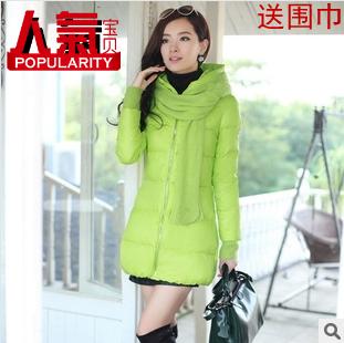 Женская утепленная куртка Низи зима 2013 одежда новой корейской версии женщин мода тонкий длинный участок вниз-ватник пальто с шарфом двойной 11