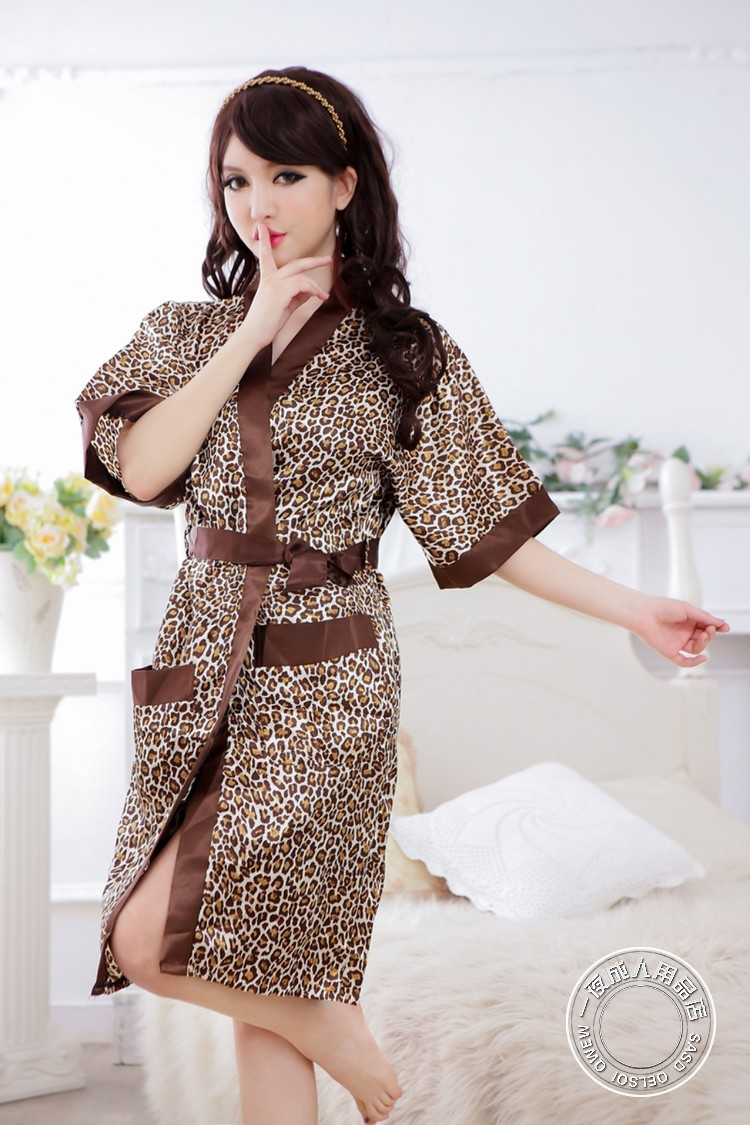 Night Fire Leopard Silk Like Fabric Tube Top & Night Robe Set 2Pcs Women Sexy Uniform