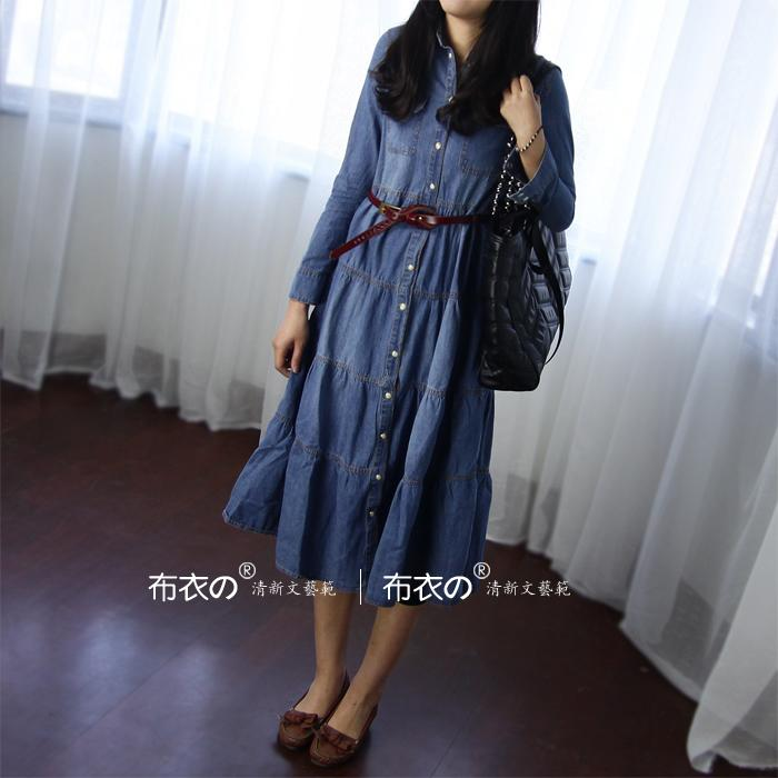 Heaneez 2013 spring new small wind long long sleeve denim dress in literature and art in Europe and fresh shirts dress L024-1