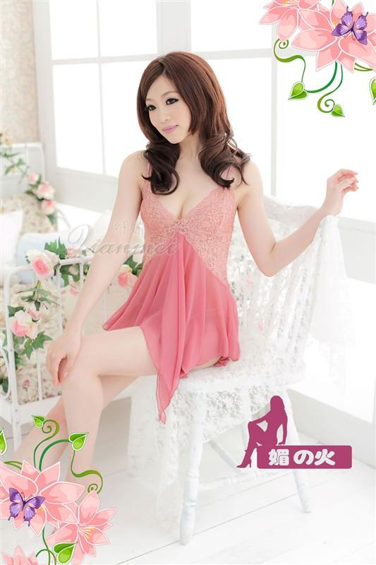 Veegol-HG Sexy Grenadine Lace Soild Cosplay Women Sleepwear Dress & Thongs Set