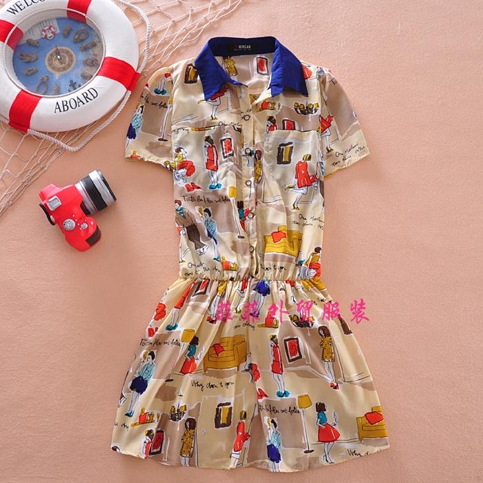 Женское платье 2014 оригинальные летние платья в Южной Корее внешней торговли печати лацкане фронта кнопку короткий рукав шифона платье 0,21