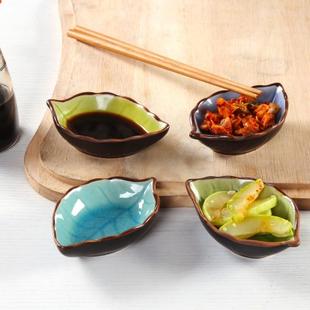 创意树叶陶瓷酱料碟