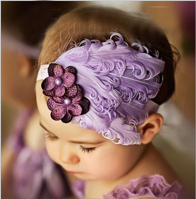 Childeku Hot new European and American natural hair ornaments baby one hundred days according to the age of photography photos feather headband B23
