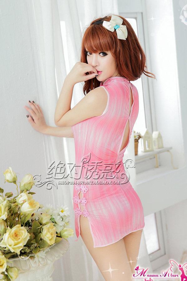 Veegol-HG Classic Polyester Fiber Printing Women Sleepwear Dress & Thong Set