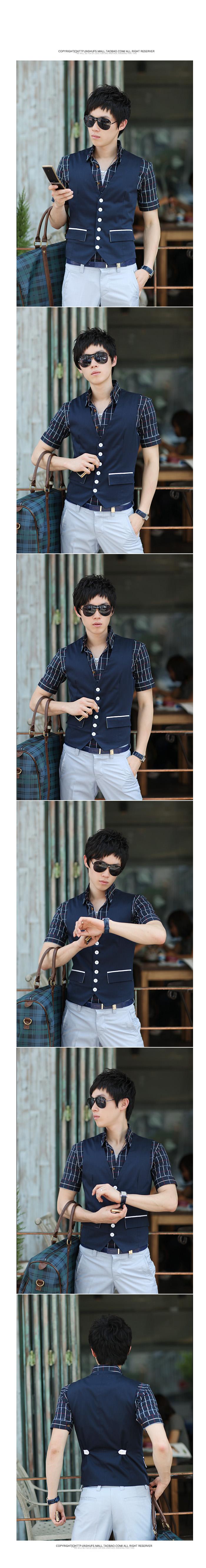 POPHOMME Tide men's spring-summer men's suits-cultivating leisure vest vest men and Korean small spring-summer men's vest vest