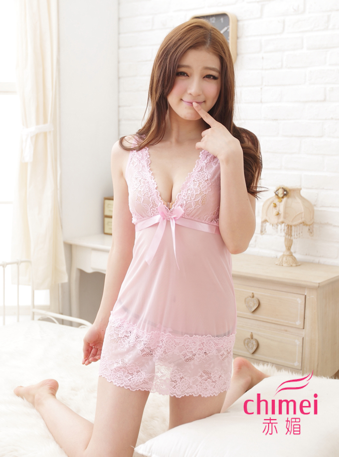 Free Shipping! Sexy lace transparent chiffon nightdress large size sexy lingerie suit temptation female open files that night