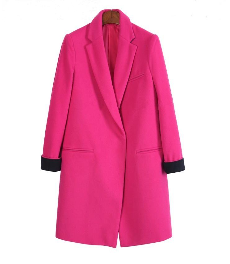 Блэйзер 2014冬季毛呢欧美新品西装外套女装西装中长款呢子西装外套