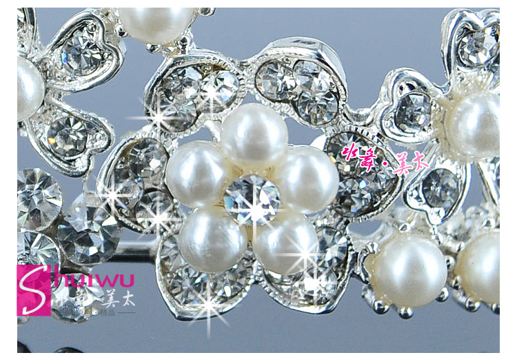ShuiWu Bride Alloy Rhinestone Pearl Wedding Headpieces Bridal Tiaras