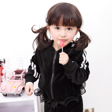 Specially as luck would have it g baby clothes girls spring 2013 new Korean wave velvet spell yarn sports suit