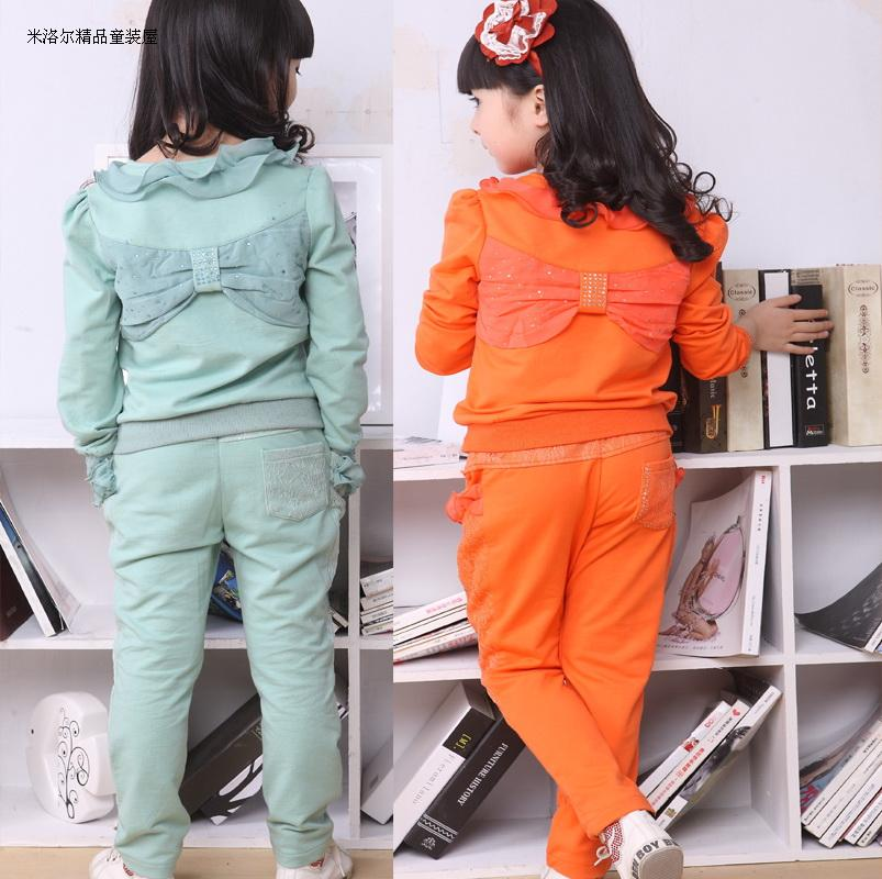 Baoyeah Spring and autumn 2013 new spring loaded cotton children's clothes girls suit autumn two piece lace ladies and children