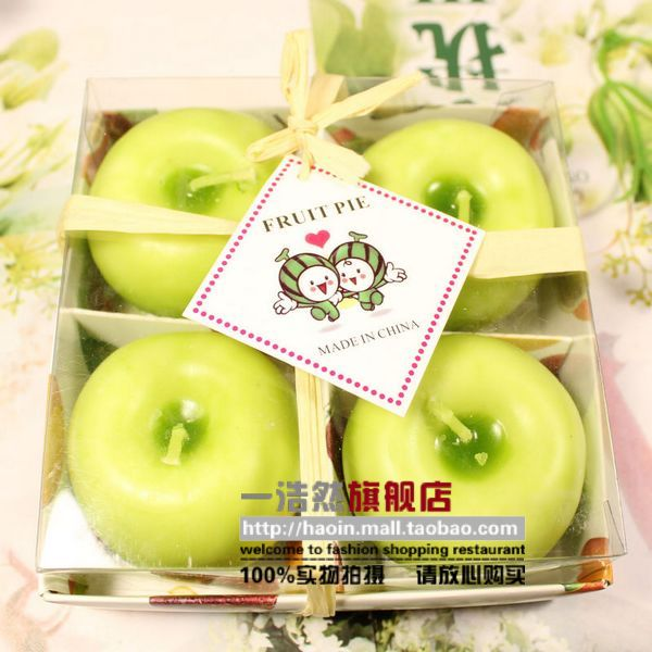 Haoin Christmas creative gift Green Apple candle Christmas gift fruit candles four loaded