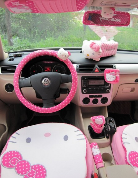 1pc Hello Kitty Cute Car Rearview Mirror Cover Car
