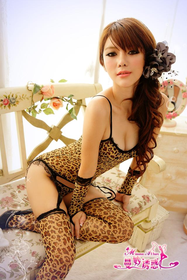 Contains Adult Sexy wild leopard six sets Tights Tops T sub gloves cat ladies sexy underwear M8845