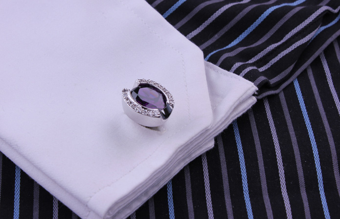 Lesang Still hunting the edge of multi-slice purple gems zircon inlaid silver cufflinks cuff nail Men's Cuff