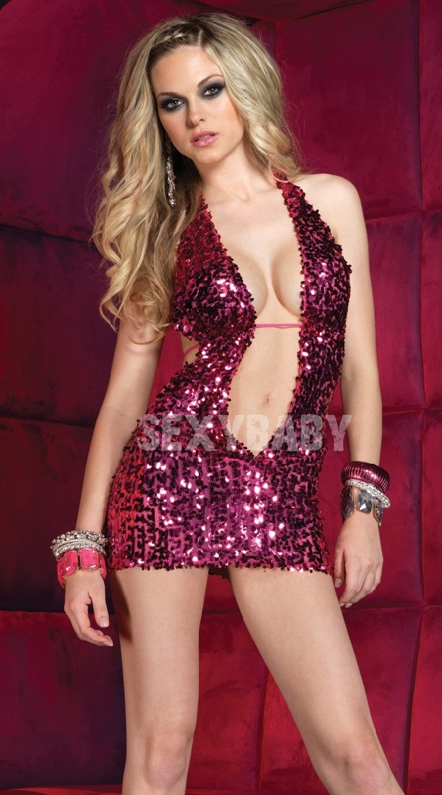 Contains Adult Temptating Sequins Backless Underware Women Sexy Uniform