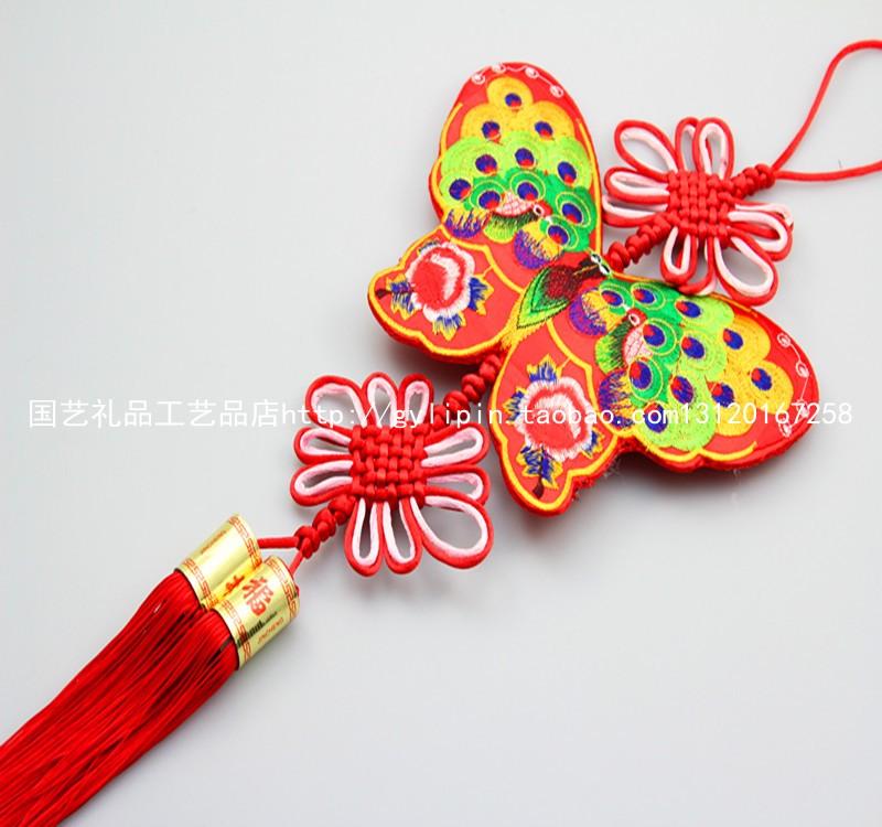 изделие с принтом Изысканной вышивкой красный китайский узел Кулон двойной Бабочка Peacock одно Кулон висит окна, подвесные украшения дома