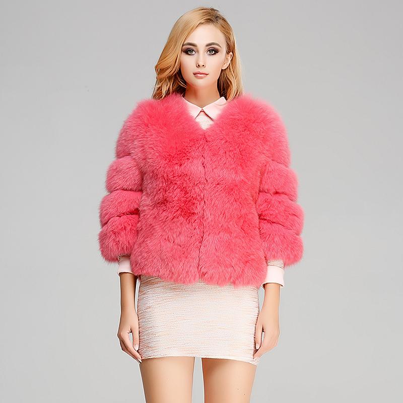 2014新款 甜美系狐狸毛整皮女圆领短款五分袖外套 海宁皮草