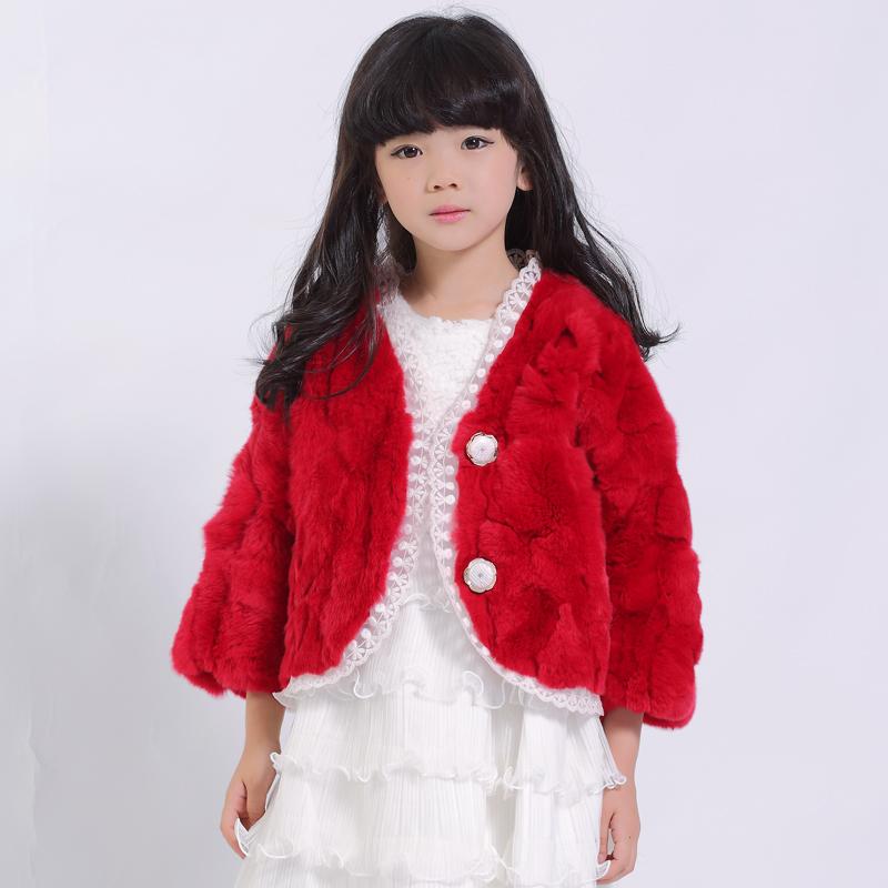冬季新款韩版童装皮草 儿童可爱外套 獭兔毛纯色皮草外套