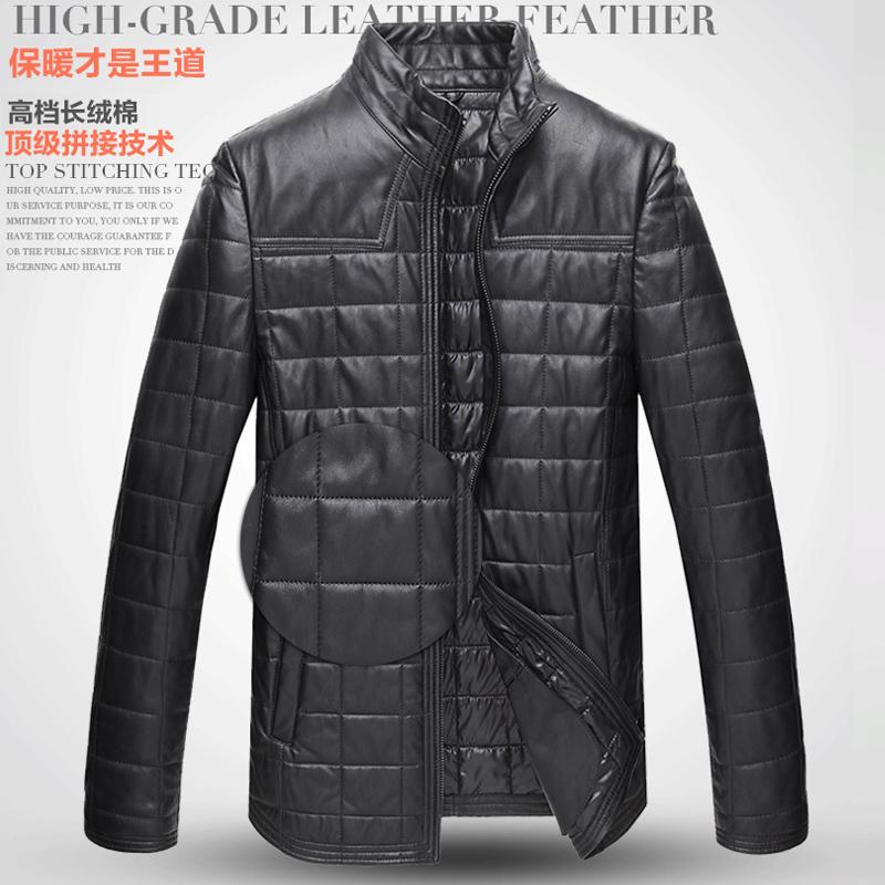 新款真皮皮衣 男士夹克款加棉立领修身绵羊皮外套