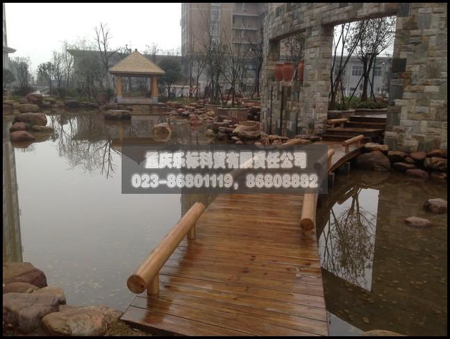 供应重庆生态木地板碳化木花架栏杆栅栏15803091619四角亭六角亭亭