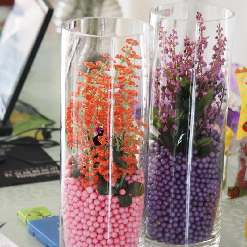 Lmdec. Purple warmth cylindrical glass decorative imitation aquatic send accessories with beads and flowers Lmdec Pastoral Floral