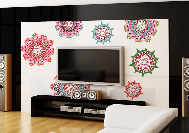 Coocolor Indian style exotic flowers large wall stickers TV backdrop stickers set of three kaleidoscope style