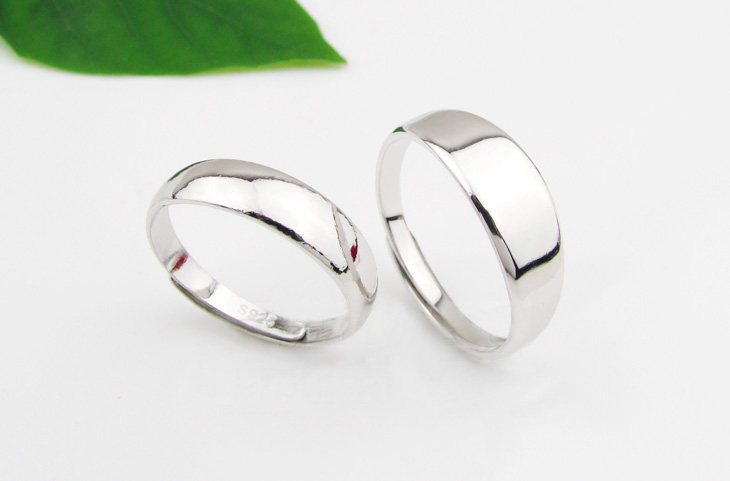couples free size silver rings1174