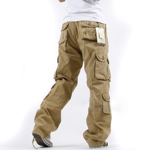 Casual Solid Cotton Loose Mid Waist Men Pants