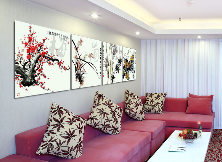 Sinuo Painting Decorative painting living room bedroom mural paintings Merlin, bamboo and chrysanthemum quadruple frameless painting wall painting modern minimalist Chinese style