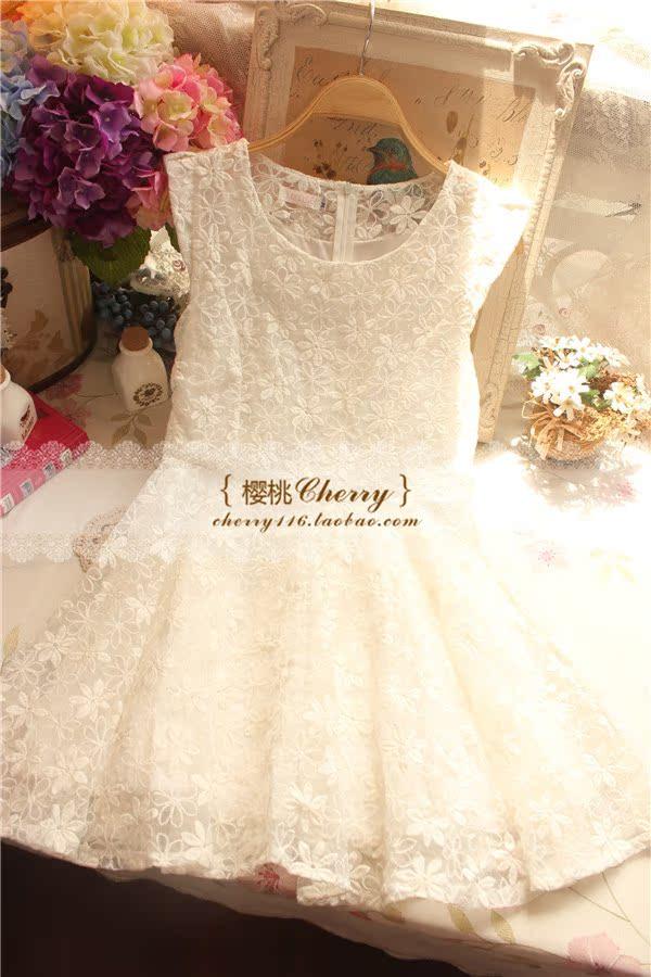 Женское платье Летний платье Новый корейский темперамент дворянки органза вышитый цветок фея платья с короткими рукавами слоеного