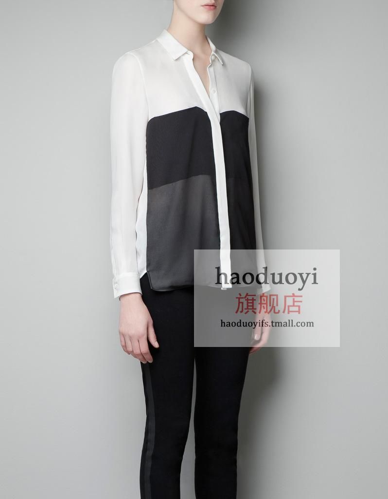 Haoduoyi Black and white contrast color stitching multi-level long-sleeved shirt collar shirt double pocket chiffon shirt 6 yards full