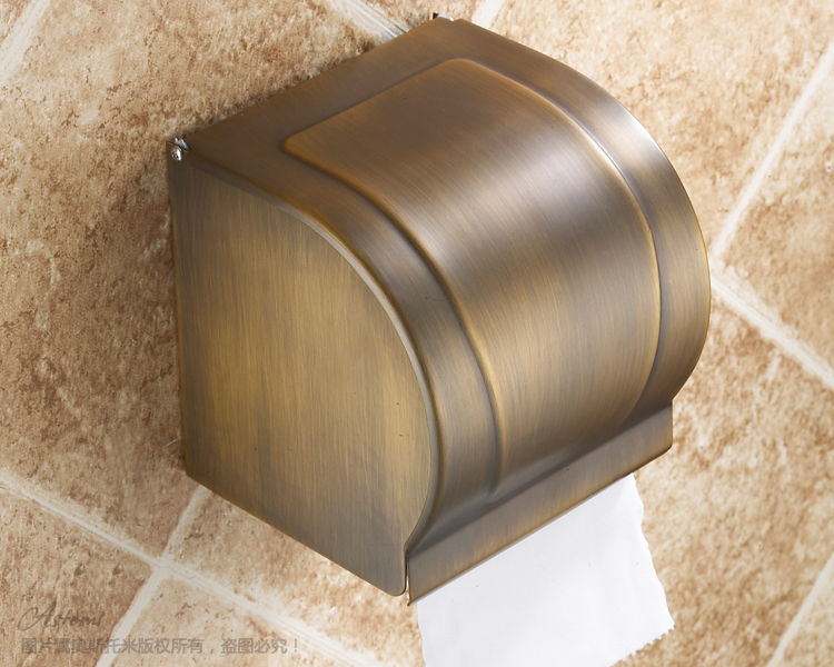 OSJIE Antique brass tray wall mounted toilet tissue box of tissues sanitary tray bathroom shelf