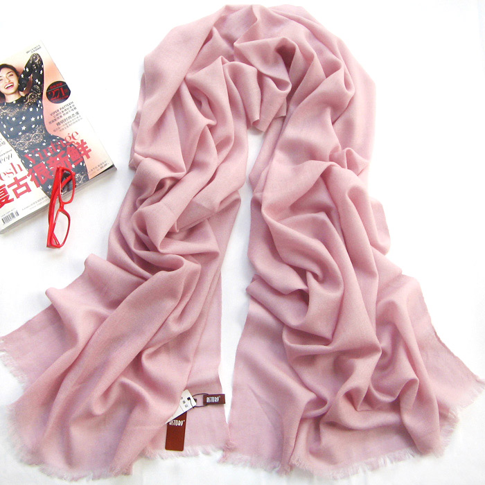 light pink long wool scarf warp