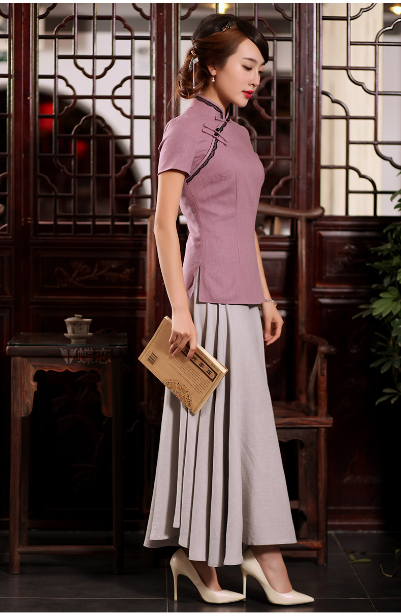 Butterfly Lovers 2015 summer new Ethnic Wind improved cheongsam shirt Han-Chinese wind cotton Ms. Yau Ma Tei Tong with 55,256 elegant Purple - pre-sale 15 days S pictures, price, brand platters! Elections are good character, the national distribution, so why buy now enjoy more preferential! Health