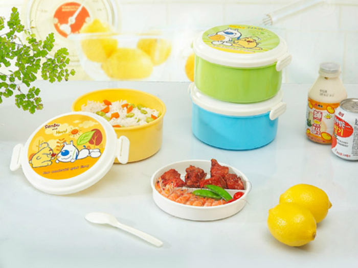 Konka 2815 plastic PP double sub-grid round microwave crisper / lunch box / food container full on Free Post