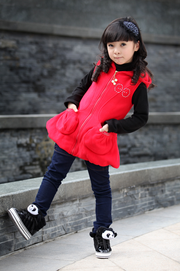 Angel Castle thickened vest long sleeve two piece female Korean autumn coat children's wear girls thick sweater