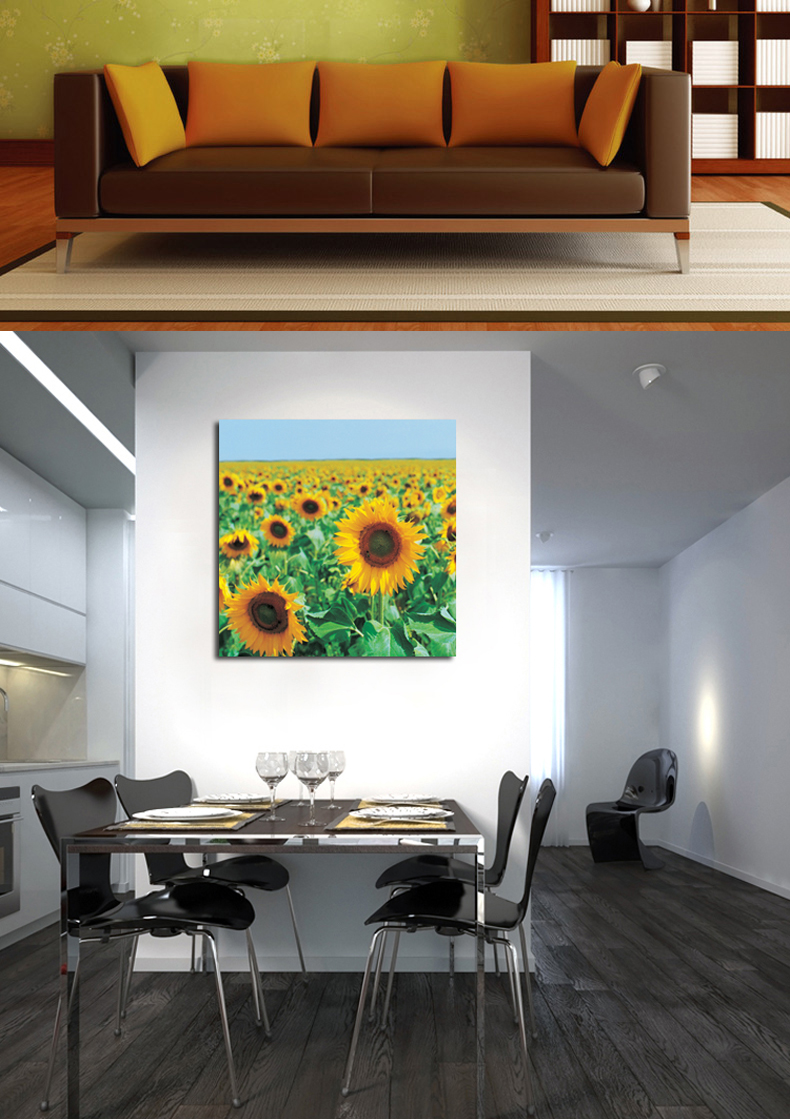 Meishimeike America when America carved sunflower flowers modern frameless decorative painting living room bedroom wall prints wall painting triple