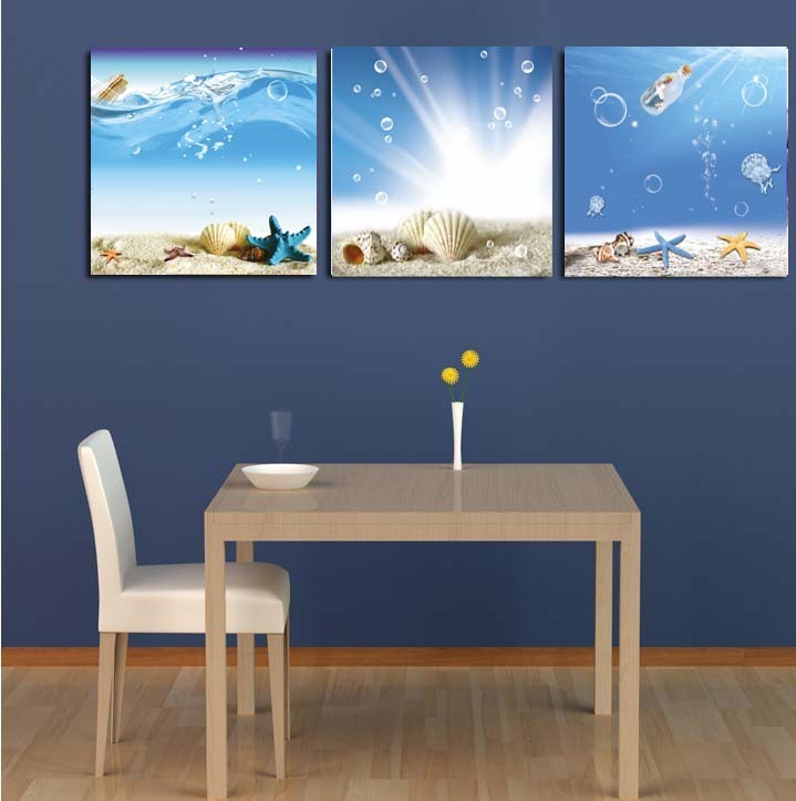 Wang painting Wishing bottle cartoon starfish seashells children's room decorative painting wall painting paintings television couch