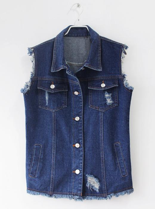 Женская жилетка Корейский женский джинсовый жилет BF ветер свободно отверстия тонкий деним темно синий жилет жилет пиджак плюс размер