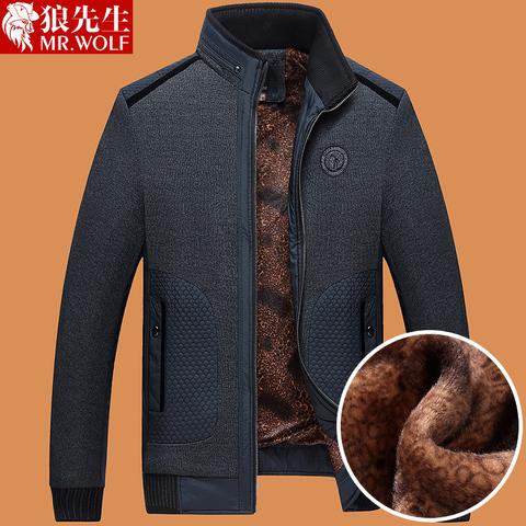 爸爸冬装外套中年秋冬季2016新款夹克加绒加厚40岁50中老年人男装