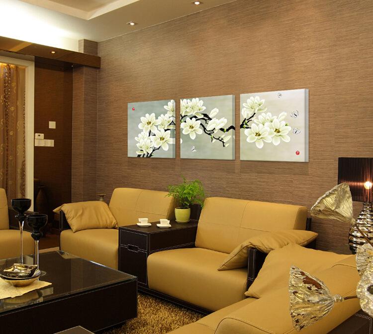 Фреска Гостиная диван современной декоративной живописи Триптих спальня настенная роспись фреска стены висит фотография кадра цветы